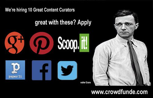 CrowdFunde Hiring Content Curators graphic on Curatti