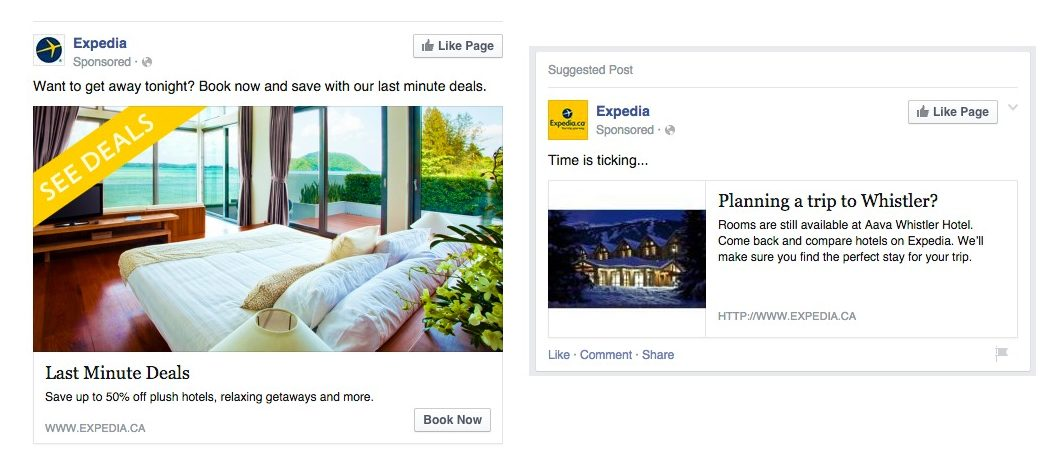 Expedia's ad on Facebook