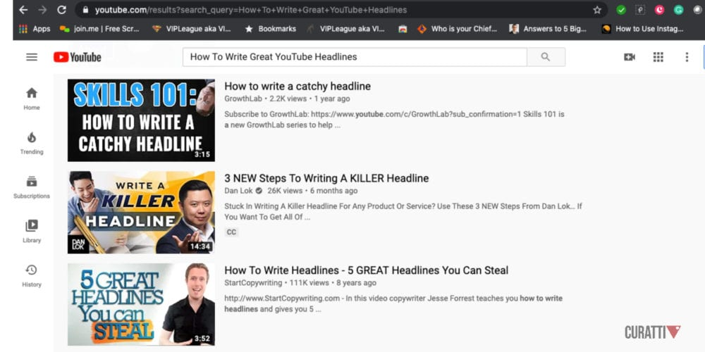 YouTube Headlines Screenshot